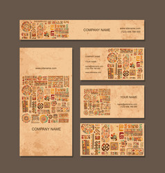 Business cards design ethnic style vector