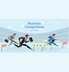 business competition flat web banner vector image
