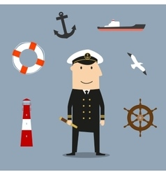 Captain profession and nautical icons vector
