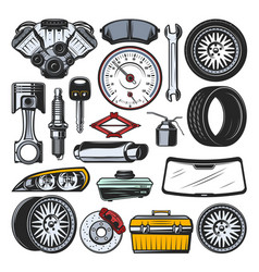 Car auto parts engine tires and tools vector