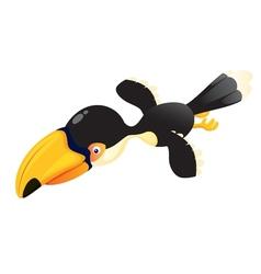 Cartoon hornbill flying vector