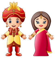 Cartoon indian couple wearing traditional costumes vector