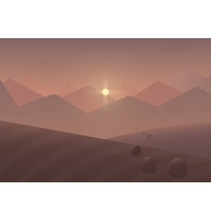Cartoon sunset Mountain Landscape Background with vector image