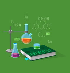 Chemistry class isolated on green vector