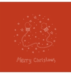 Christmas card with hand drawn mittens and text vector