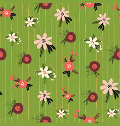 christmas flowers seamless pattern flat vector image