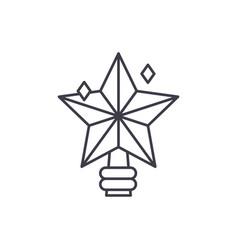 christmas star line icon concept christmas star vector image