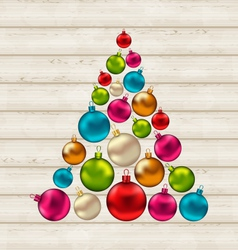 Christmas tree made of colorful balls on wooden vector image
