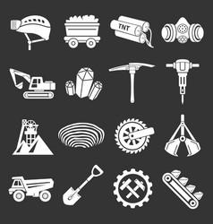 Coal mine icons set grey vector