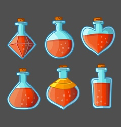 Collection of red magical bottles vector image