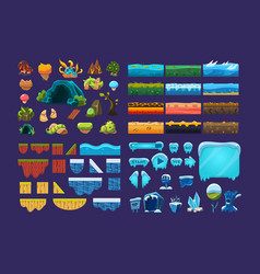 Collection of summer and winter fantasy landscape vector