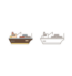 colorful and monochrome icon set cargo ships vector image