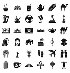 Country icons set simple style vector