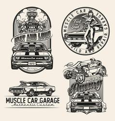 Custom cars vintage monochrome prints vector