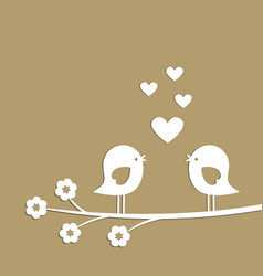 Cute birds with hearts cutting from white paper vector