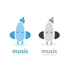 Cute chick silhouette logo icon Chicken music vector image