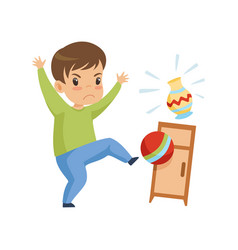 Cute naughty boy playing with ball at home bad vector