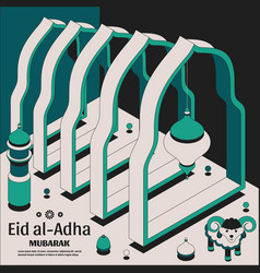 Eid al adha background isometric islamic arabic vector