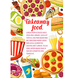 fast food dishes banner of fastfood restaurant vector image