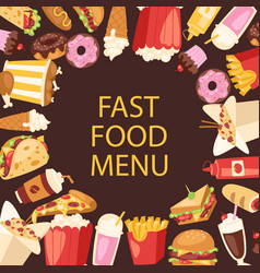 fast food menu frame cartoon vector image