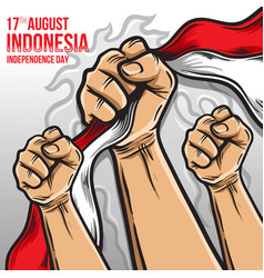 Fist hand taking indonesia flag vector