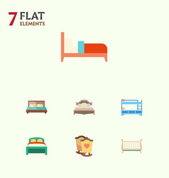 Flat bed set of bedroom crib cot and other vector
