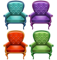 Four color of armchairs vector