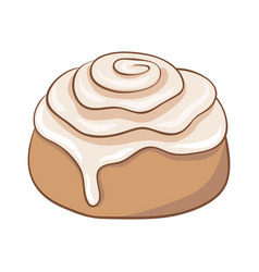 freshly baked cinnamon roll with sweet frosting vector image