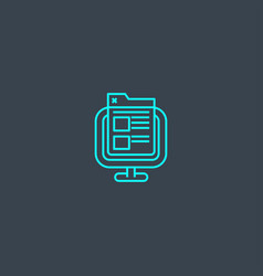 Front end concept blue line icon simple thin vector