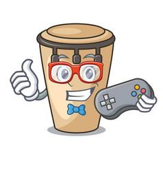 Gamer conga mascot cartoon style vector