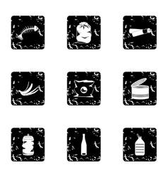 Garbage icons set grunge style vector image