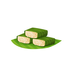 Glutinous rice in green banana leaves traditional vector