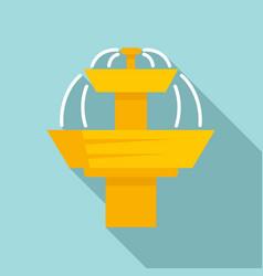 Golden drinking fountain icon flat style vector