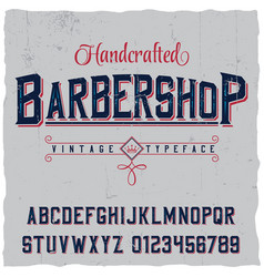handcrafted barbershop label font poster vector image