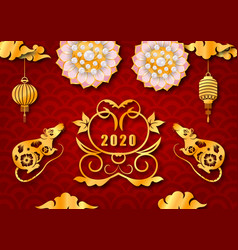 happy chinese new year 2020 with golden rat symbol vector image