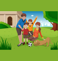 Happy family with pets vector