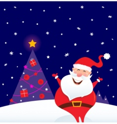 happy santa and christmas tree vector image