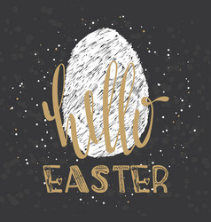 Hello easter lettering modern calligraphy style vector