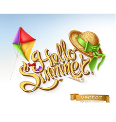 hello summer lettering vector image