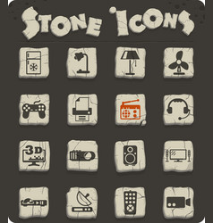 Home appliances stone icon set vector