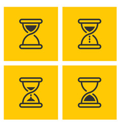 hourglass outline black icons on yellow vector image