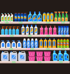household supplies chemical detergent bottles vector image
