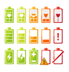 icon set with different status battery charger vector image