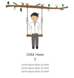 Invitation my first communion boy on a swing vector
