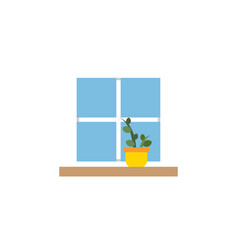 isolated window flat icon flowerpot vector image