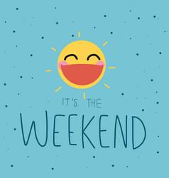 it is weekend cute sun smile polka dot background vector image