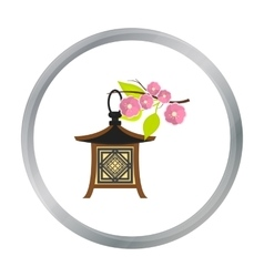 Japanese lantern icon in cartoon style isolated on vector image
