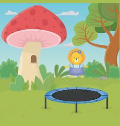 Lion jumping trampoline mushroom house fantasy vector