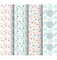 memphis seamless patterns available in swatches vector image