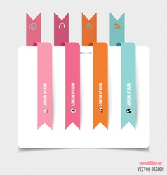 Modern Design template of paper with ribbons vector